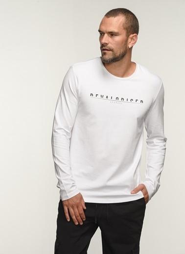 People By Fabrika People By Fabrika Uzun Kol Baskılı Erkek Tişört Beyaz
